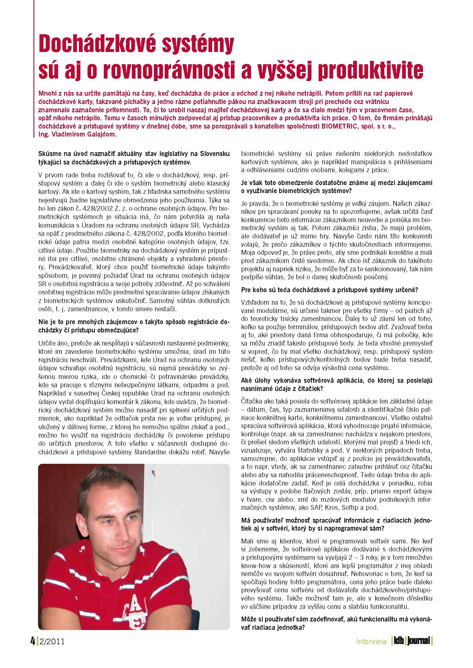 Idb Journal, číslo 2/2011